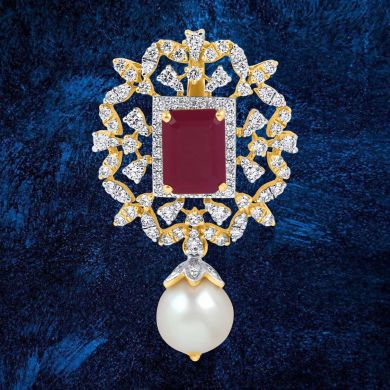 Gleaming Ruby Floral Pendant with Pearl