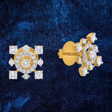 Spaced Bloom Diamond Stud Earrings