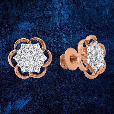Closed Cluster Bloom Stud Earrings