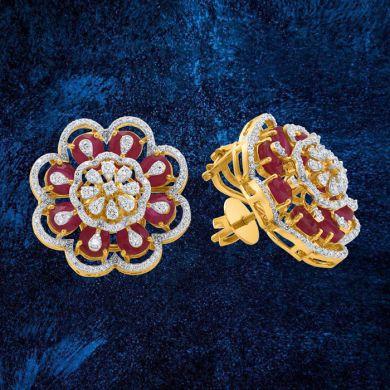 Glitzy Ruby Diamond Bloom Earrings