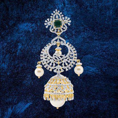 Tri-step Diamond and Pearl Jhumkas