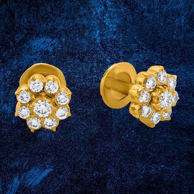 Yellow Gold Women Light Weight Earring